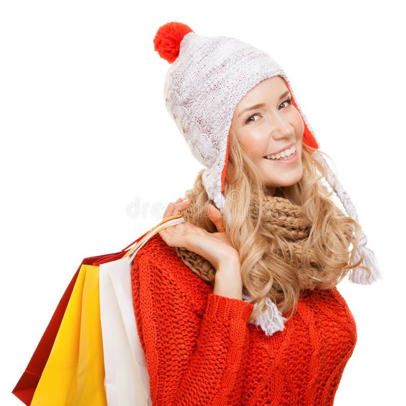 zdojest szczęśliwej mienia zakupy kobiety Zim sprzedaże odosobniony obraz royalty free