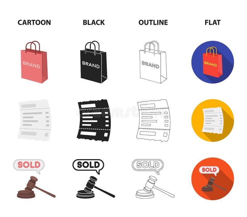 Zdojest, tapetuje i sprawdza, obliczenie i inny wyposażenie E handlu ustalone inkasowe ikony w kreskówce, czerń, kontur, mieszkan royalty ilustracja