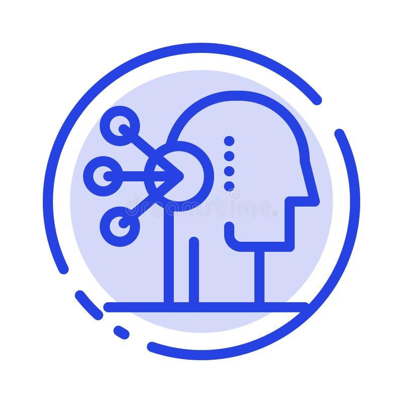 Zdolność, asortyment, koncentracja, Ludzki błękit Kropkująca linii linii ikona ilustracji