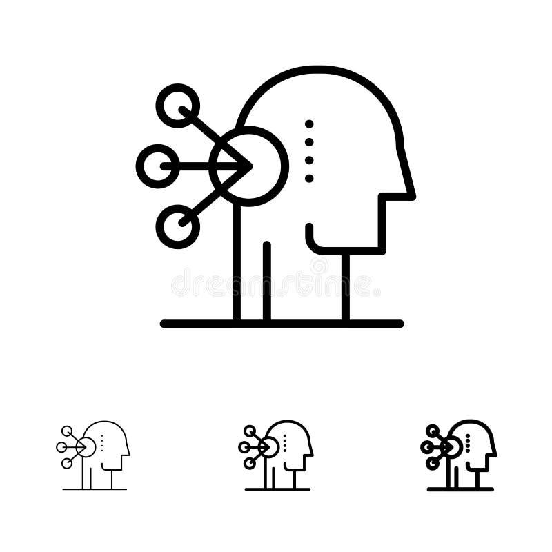 Zdolność, asortyment, koncentracja, Ludzki czerni linii ikony set, Śmiały i cienki ilustracja wektor