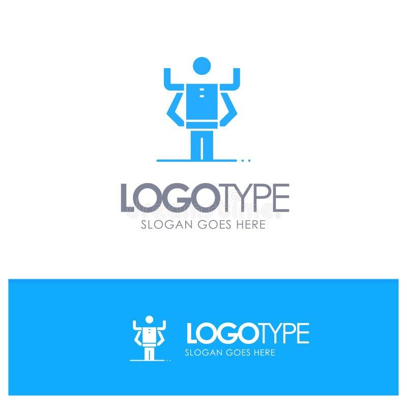 Zdolność, istota ludzka, Multitask, organizacja Błękitny Stały logo z miejscem dla tagline ilustracji