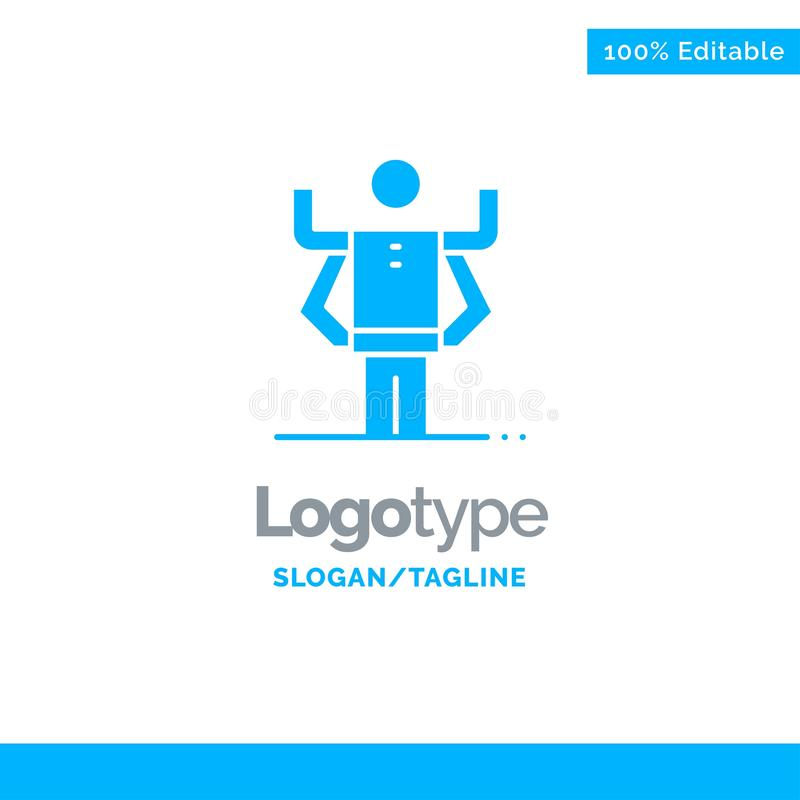 Zdolność, istota ludzka, Multitask, organizacja logo Błękitny Stały szablon Miejsce dla Tagline royalty ilustracja