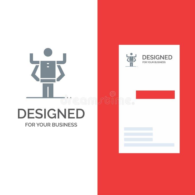 Zdolność, istota ludzka, Multitask, organizacja logo Popielaty projekt i wizytówka szablon, ilustracji