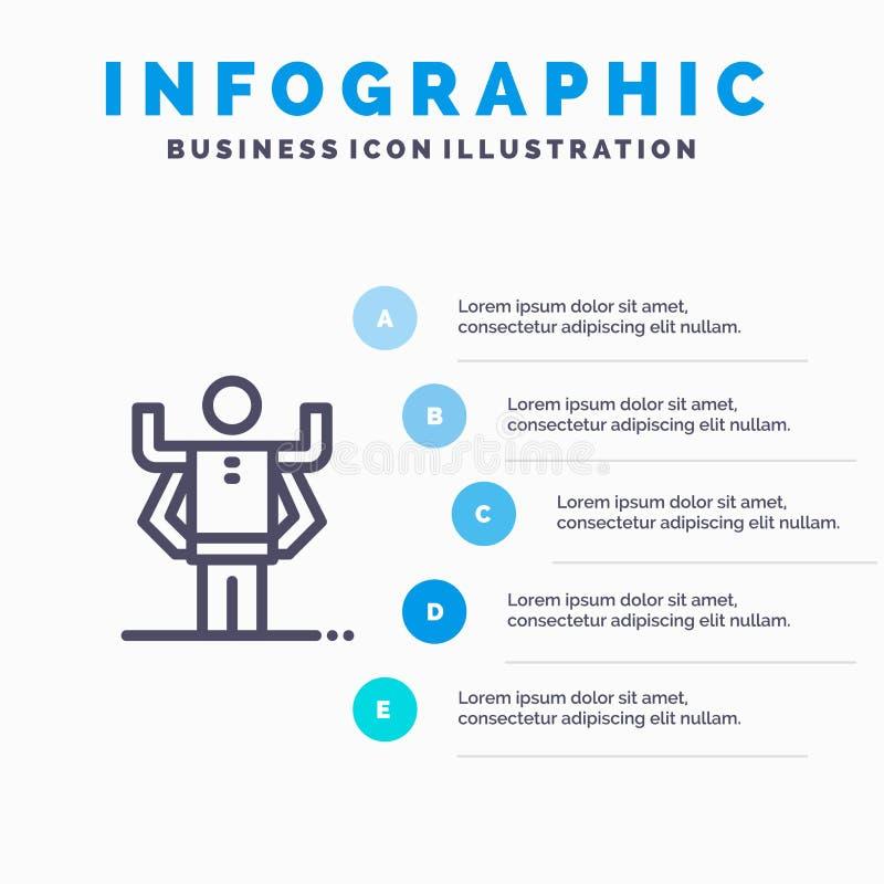Zdolność, istota ludzka, Multitask, organizacji Kreskowa ikona z 5 kroków prezentacji infographics tłem ilustracja wektor