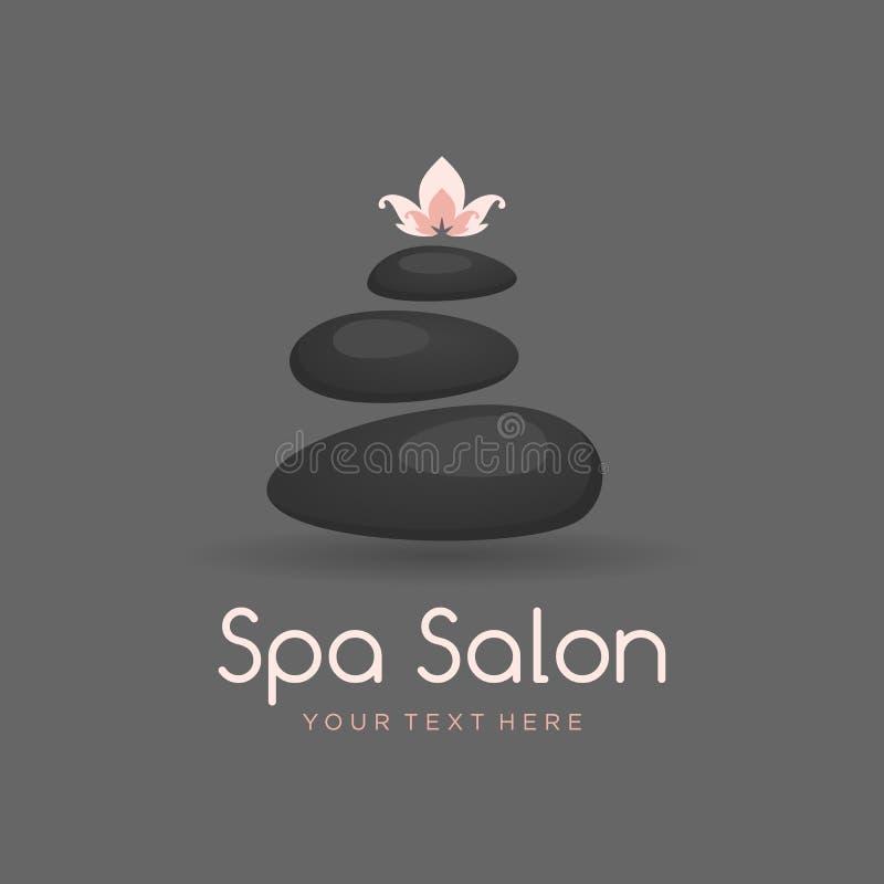 Zdrój dryluje loga dla, relaksuje procedury, masaż i, czarny rozsypisko medycznej terapii, piękna i opieki zdrowotnej Odizolowywa ilustracji