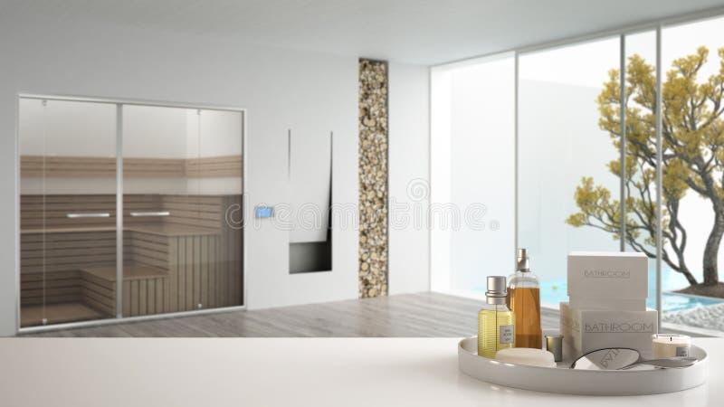Zdrój, hotelowy łazienki pojęcie Biała półka z kąpań akcesoriami lub, toiletries, nad zamazaną minimalistyczną sauna łazienką fotografia stock
