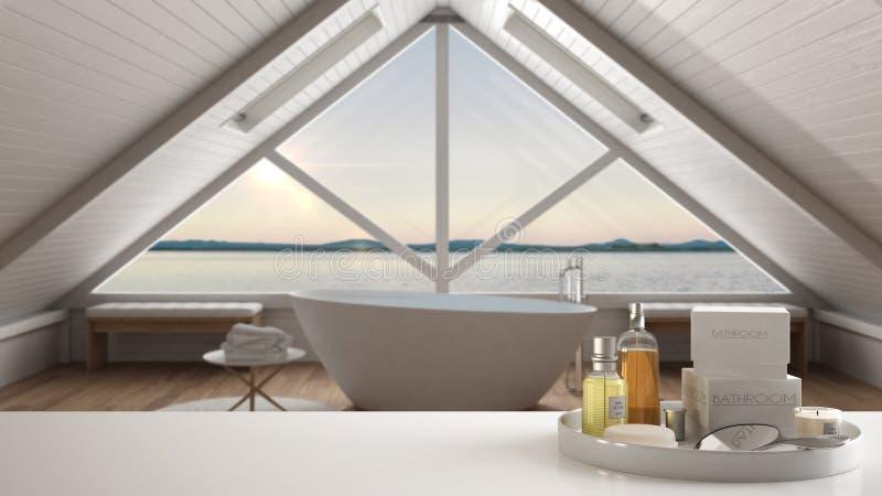 Zdrój, hotelowy łazienki pojęcie Biała półka z kąpań akcesoriami lub, toiletries, nad zamazanym panoramicznym minimalisty skąpani zdjęcia royalty free