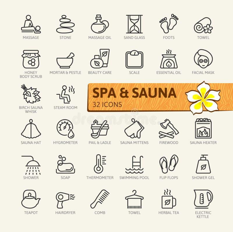 ZDRÓJ i sauna, parowy skąpanie - minimalny cienieje kreskowego sieci ikony set Kontur ikony inkasowe royalty ilustracja