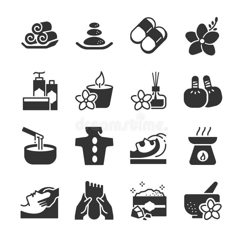 Zdrój ikony set Zawrzeć ikony jako świeczka, relaksuje, aromatyczna, masaż, produkty, sól, gorący kamień i więcej, ilustracja wektor