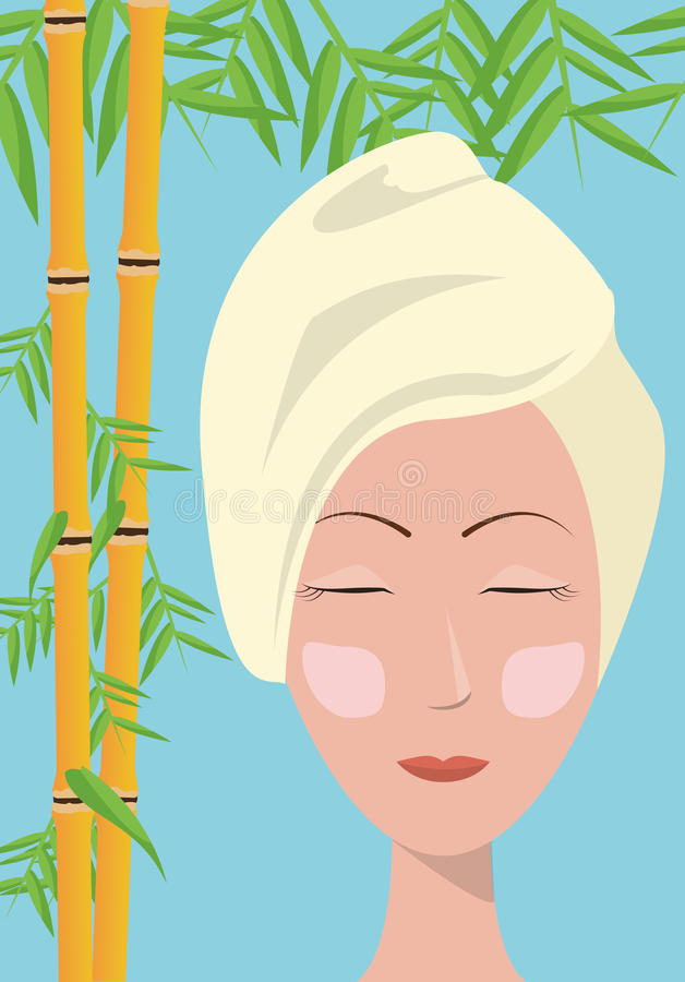 Zdrój kobiety opieki ręcznikowej skóry bambusowy błękitny tło ilustracji
