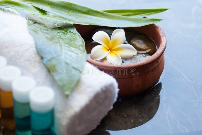 Zdrój lub wellness kremowe tubki Ciało opieka i zdroju pojęcie z tropikalnym kwiatem zdjęcie royalty free