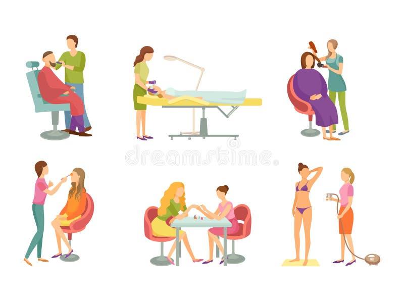 Zdrój procedura w piękno salonu kreskówki sztandaru secie ilustracja wektor