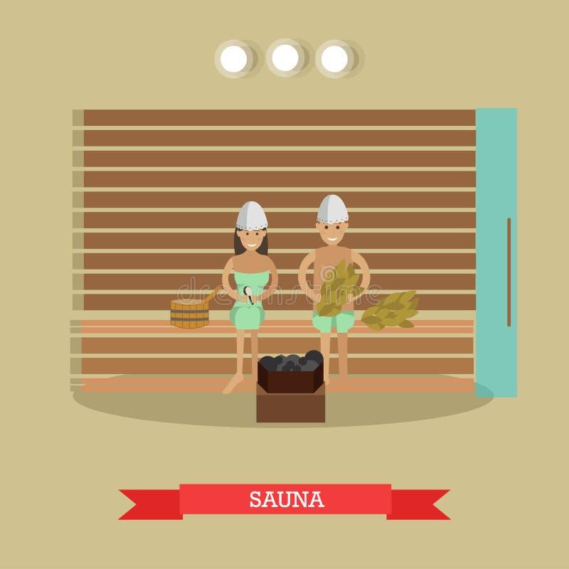 Zdrój procedury sauna pojęcia wektorowa ilustracja w mieszkanie stylu ilustracji
