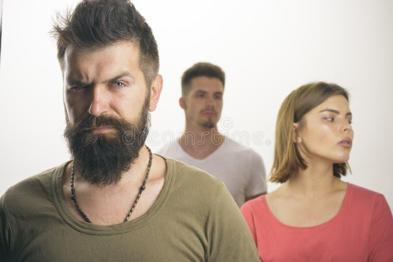 Zdrady i nieufności mężczyzna z parą Miłość powiązania ludzie klub dla ludzi z problemami depresja i samobójczy zdjęcia royalty free