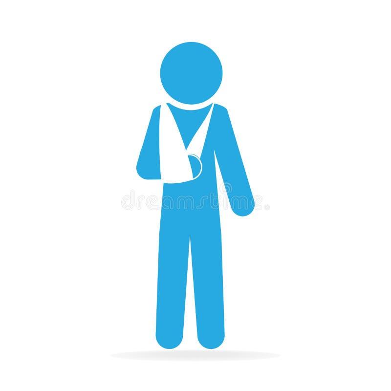 Zdradzeni mężczyzna w bandaża znaka ikonie ilustracji