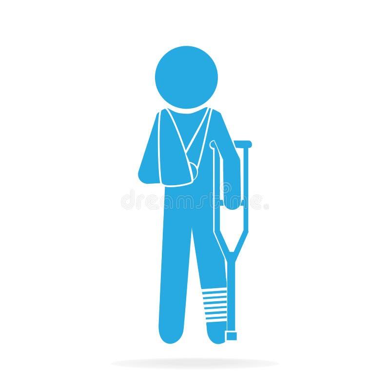 Zdradzeni mężczyzna w bandaża znaka ikonie ilustracja wektor