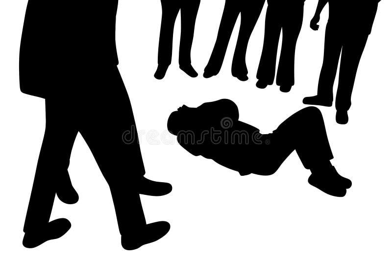 Zdradzonego mężczyzny łgarski puszek i ciekawi ludzie stoi wokoło on royalty ilustracja