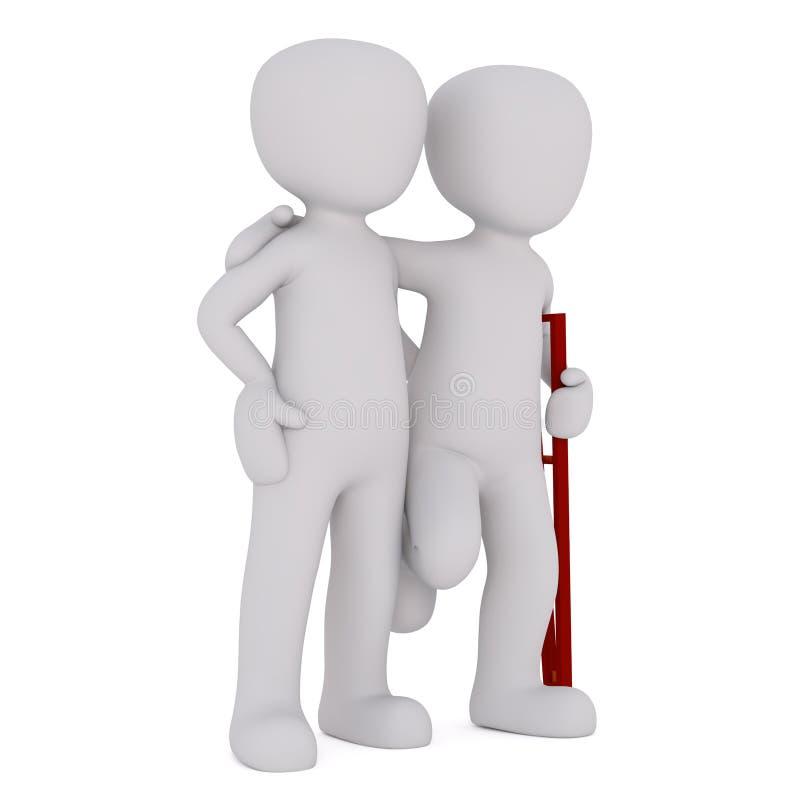 Zdradzony mężczyzna opiera na przyjaciela ramieniu ilustracji