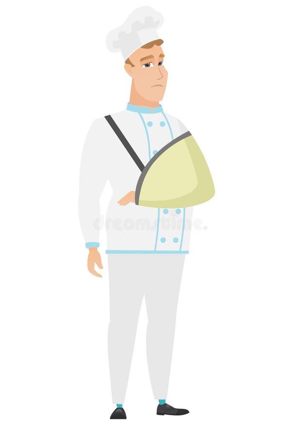 Zdradzony szefa kuchni kucharz z łamaną ręką ilustracji