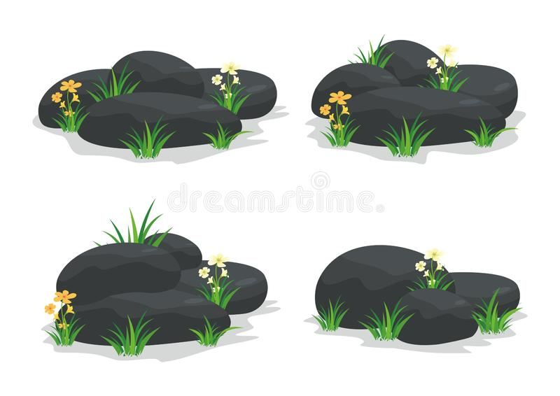 Zdrojów kamienie z kwiatem, trawą, liściem i kwiatem, royalty ilustracja
