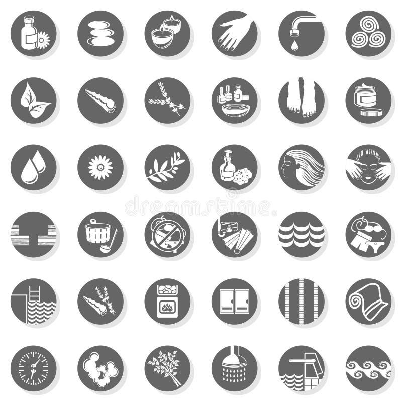 36 zdrojów sauna relaksuje guzika set ilustracji