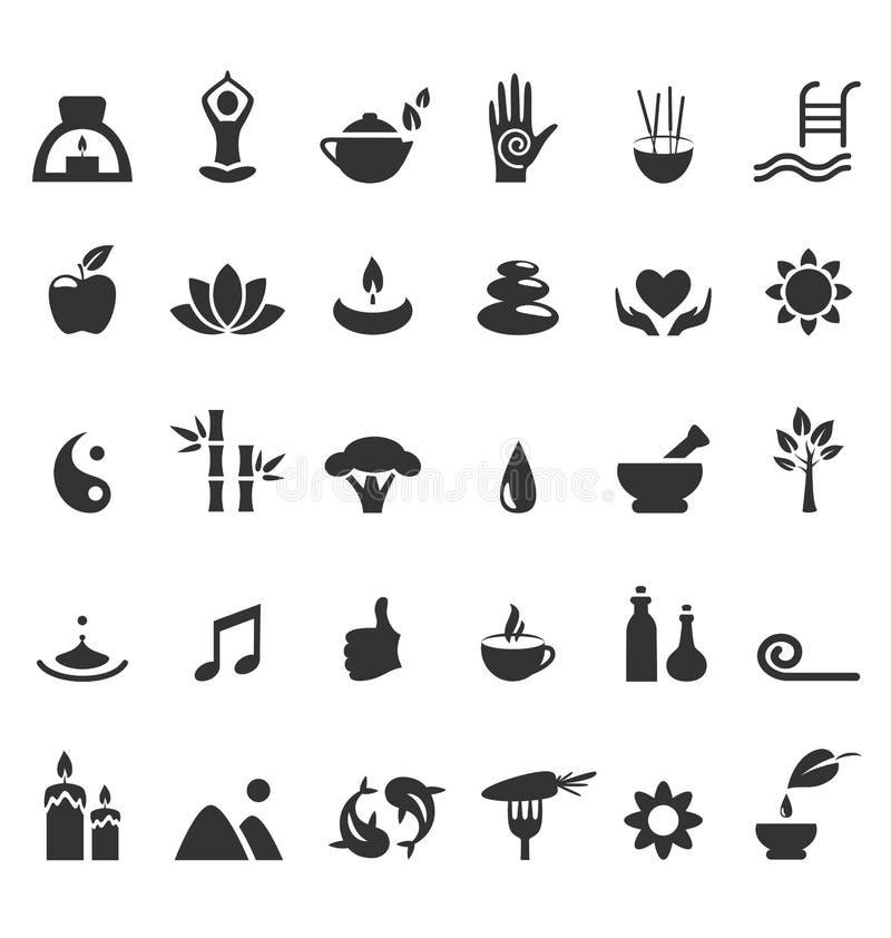 Zdroju joga zen płaskie ikony odizolowywać na bielu ilustracji