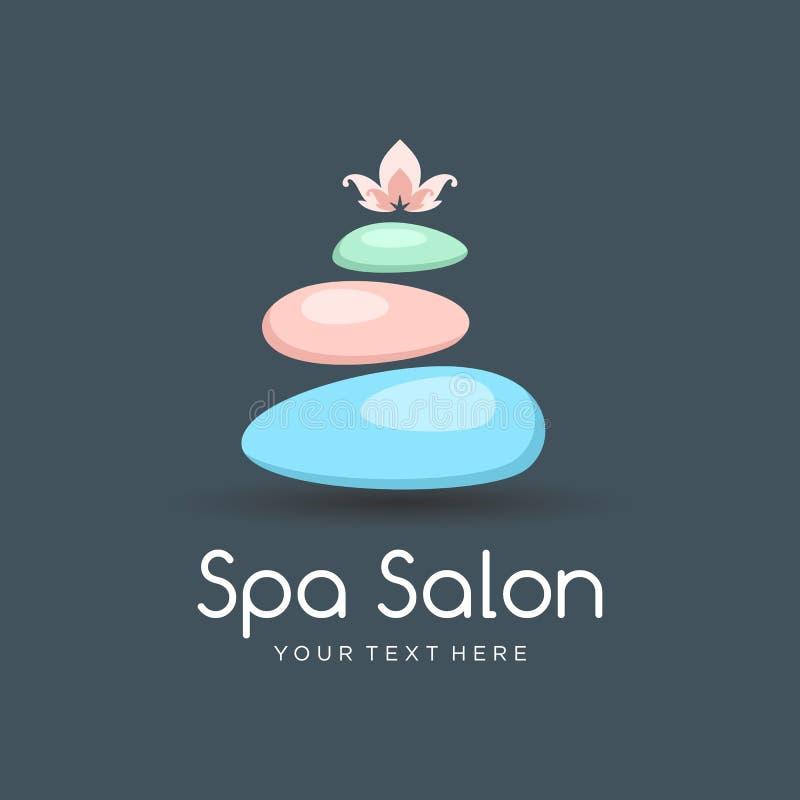 ZDROJU koloru loga szablon dla piękno salonu lub joga centrum z zdrojów kamieniami i lotosowym kwiatem ilustracji