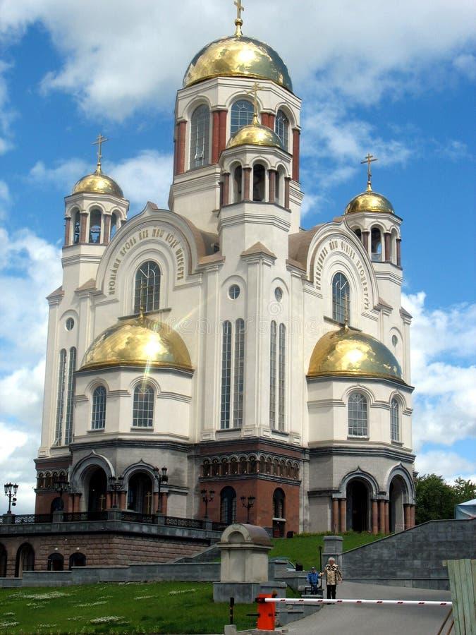 Zdroju na krovi katedra Ekaterinburg Rosja zdjęcia stock