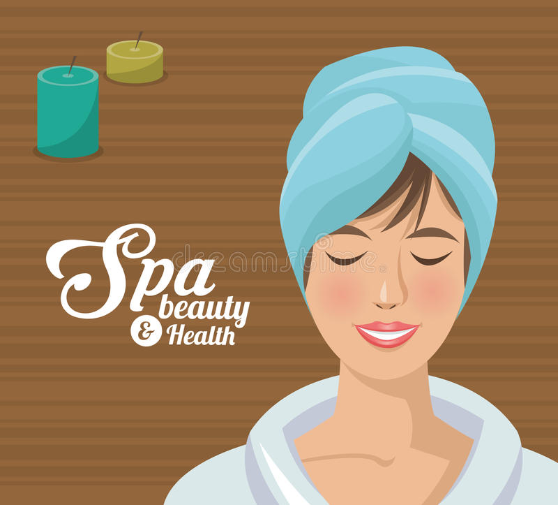 Zdroju piękna i zdrowie kobiety błękita ręcznik royalty ilustracja