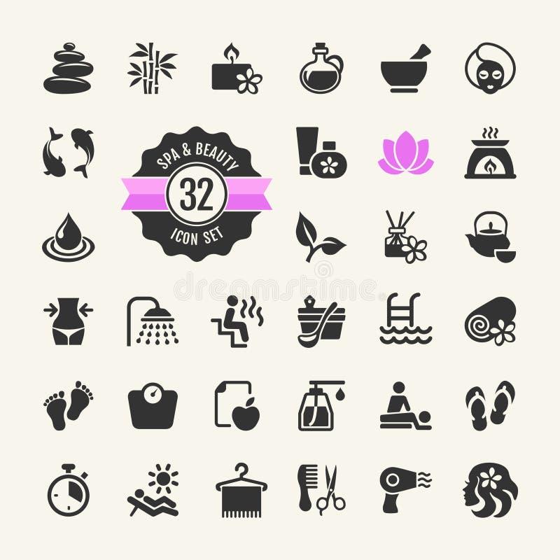 Zdroju & piękna ikony Ustawiać royalty ilustracja