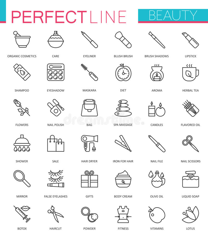 Zdroju piękno i kosmetyk sieci cienkie kreskowe ikony ustawiać Konturu uderzenia ikony projekt ilustracja wektor