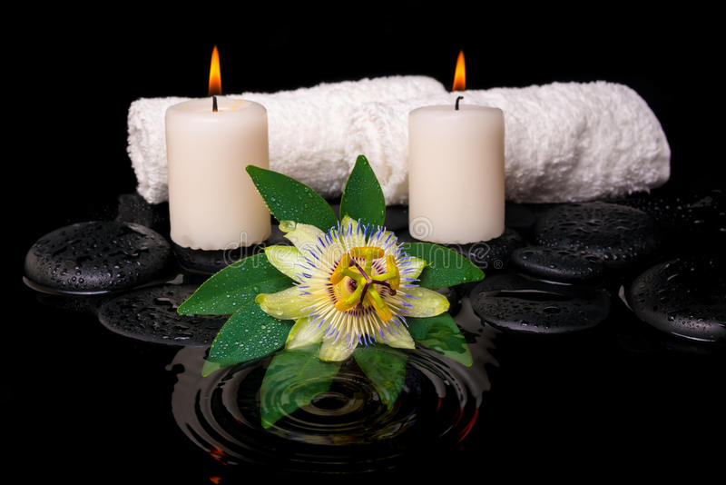 Zdroju położenie passiflora kwiat, zielony liść z kroplą, ręczniki fotografia stock
