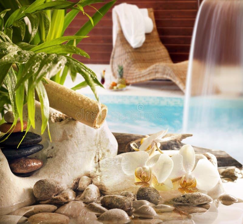 Zdroju pojęcie z kamień orchidei siklawą w basenie i sunbed fotografia stock