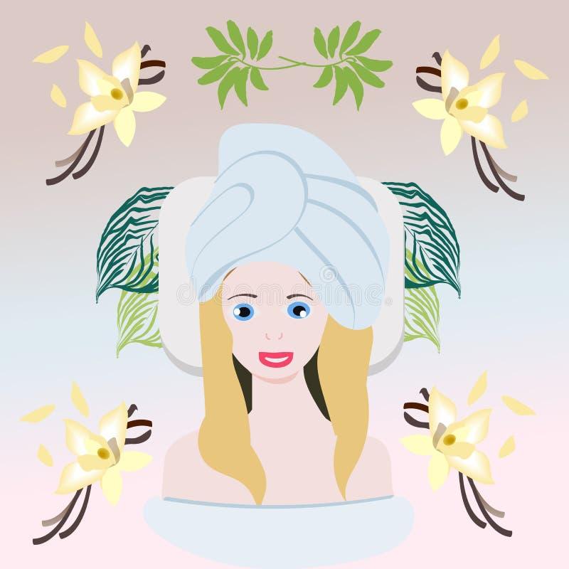 Zdroju przyjęcia karta z dziewczyną, parfume, creme, palmowy urlop, ręka rysująca ilustracji