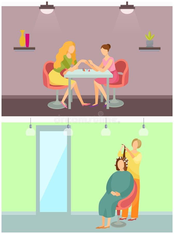 Zdroju salonu Włosiany tytułowanie i manicure'u Ustalony wektor ilustracja wektor