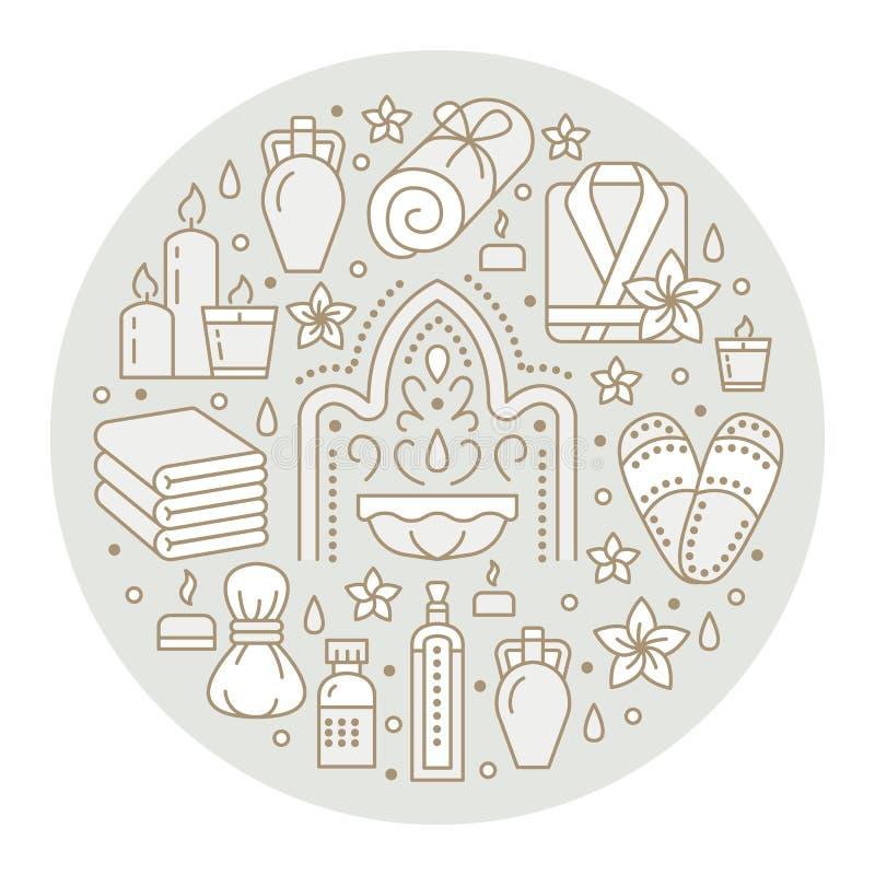 Zdroju sztandaru centrum ilustracja z mieszkanie linii ikonami Istotni oleje, aromatherapy masaż, turecki parowego skąpania hamam ilustracja wektor