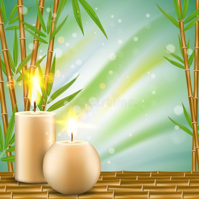 Zdroju tło z bambusa i aromata świeczek wektorową realistyczną ilustracją ilustracji