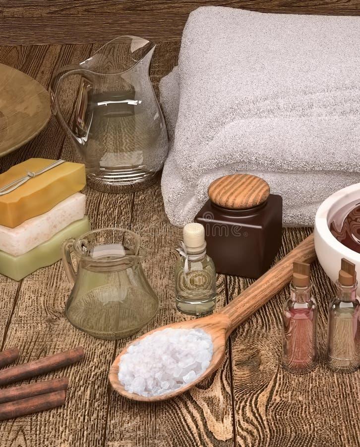 Zdroju wciąż życie z świeczkami, seasalt i zdrojów produktami, royalty ilustracja