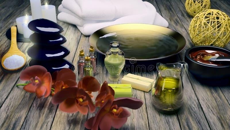 Zdroju wciąż życie z płonącymi świeczkami i kwiatami orchidea ilustracji