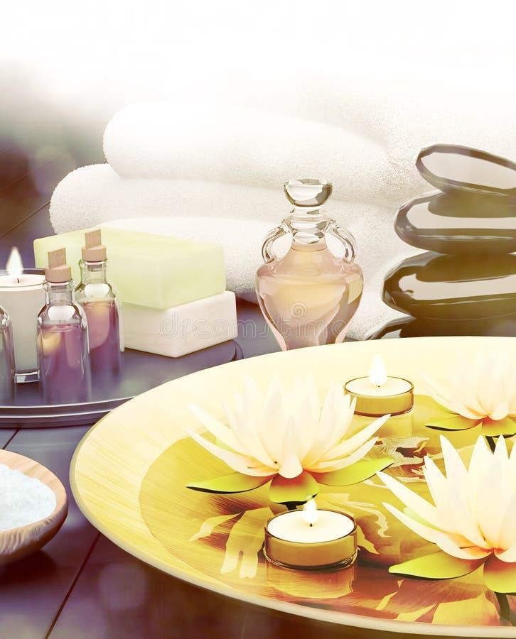 Zdroju wciąż życie z płonącymi świeczkami i lelują kwitnie ilustracja wektor