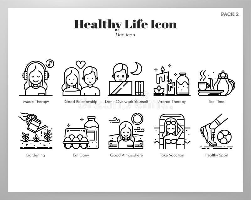 Zdrowa życie ikon linii paczka ilustracji