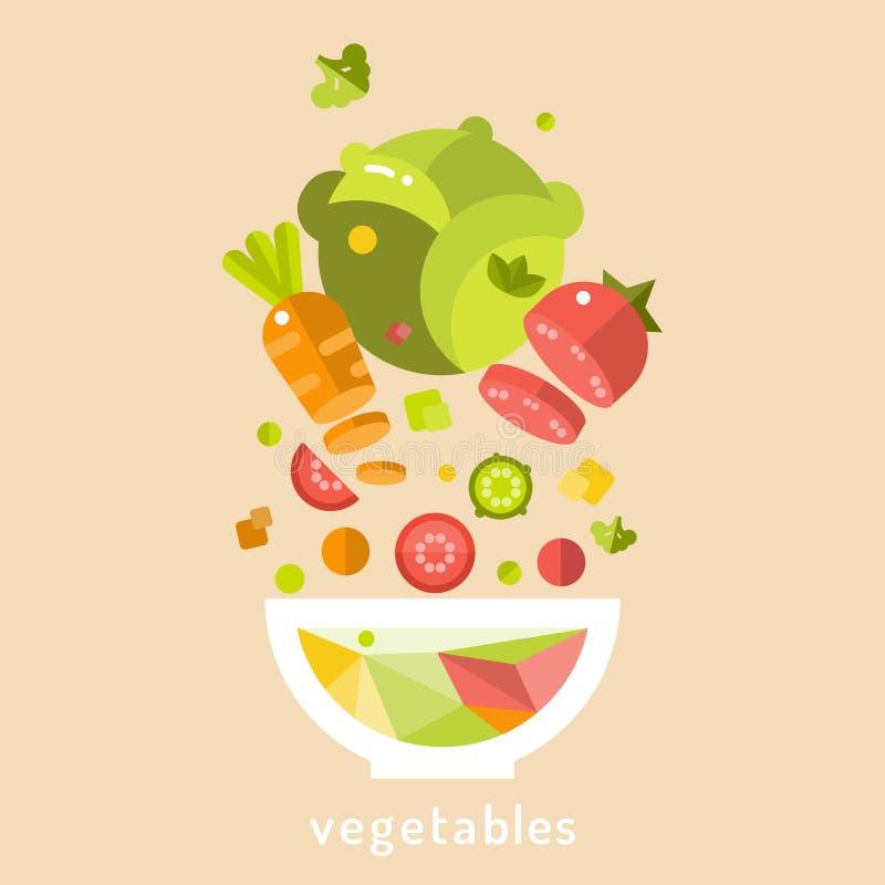 zdrowa żywność Półkowa witaminy sałatka ilustracji