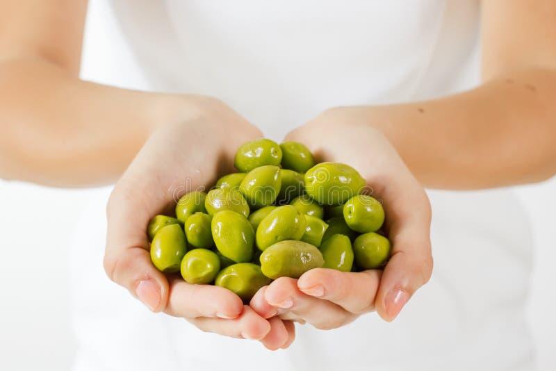 Zdrowa karmowa zielona oliwka zdjęcie royalty free