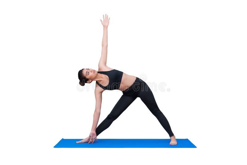 Zdrowa kobieta ćwiczy joga odizolowywający z ścinek ścieżką na białym tle zdjęcie royalty free