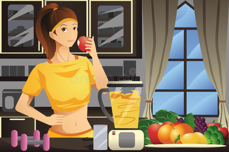 Zdrowa kobieta robi owocowemu sokowi ilustracja wektor