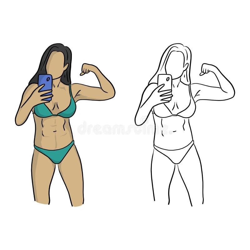 Zdrowa kobieta z bikini bierze selfie wektorowego ilustracyjnego sket ilustracji