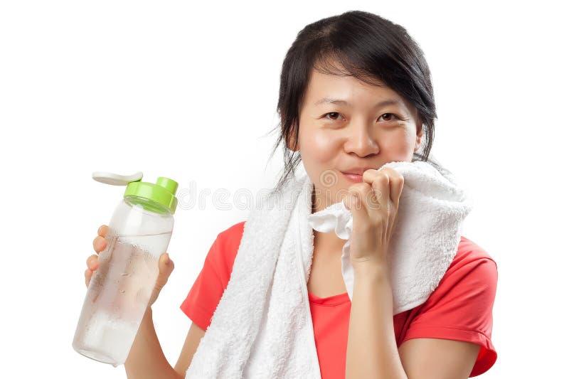 Zdrowa kobiety woda pitna fotografia royalty free
