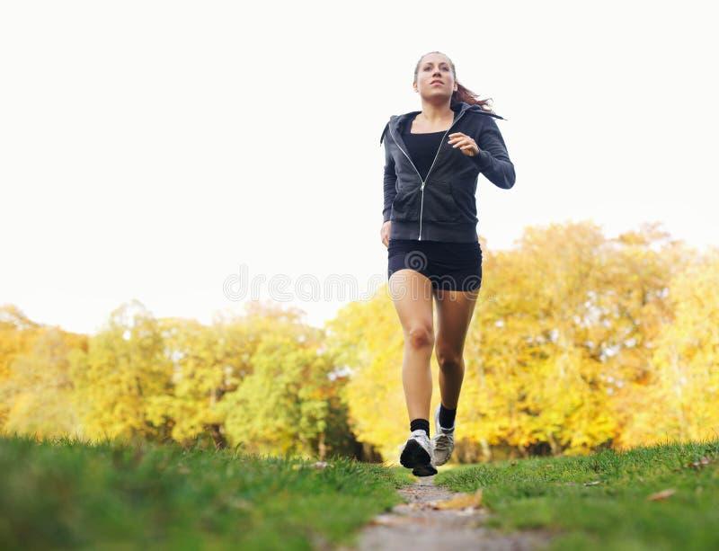 Zdrowa młoda kobieta jogging w parku zdjęcie royalty free