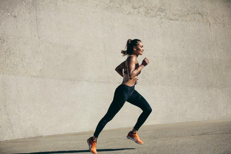 Zdrowa młoda kobieta na ranku bieg obrazy royalty free