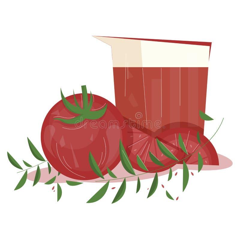 Zdrowa pomidorowego soku mieszkania ilustracja royalty ilustracja